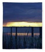 Distant Storms At Sunset Fleece Blanket