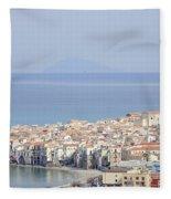 Distant View Of Cefalu Sicily Fleece Blanket