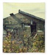 Distressed Honey House Door County Wisconsin Fleece Blanket