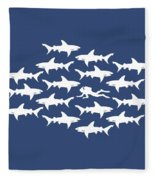 Diver Swimming With Sharks Fleece Blanket