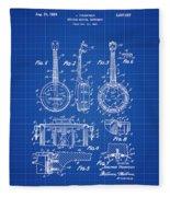 Dixie Banjolele Patent 1954 In Blue Print Fleece Blanket