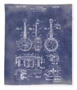 Dixie Banjolele Patent 1954 In Grunge Blue Fleece Blanket