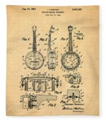 Dixie Banjolele Patent 1954 In Sepia Fleece Blanket