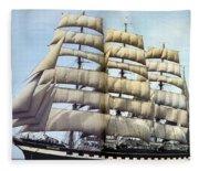 dk tall ships kruzenshtern barque lyr 1926 full D K Spinaker Fleece Blanket