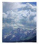 Dm9233 Clouds Over Mt. Moran V Fleece Blanket