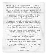 Do It Anyway By Mother Teresa #minimalism #inspirational Fleece Blanket