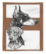 Cropped Doberman Pinscher And Pup Fleece Blanket
