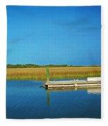 Dock And Marshes Fleece Blanket