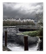 Dock At Dusk Fleece Blanket