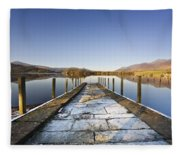 Dock In A Lake, Cumbria, England Fleece Blanket