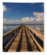 Dock On The Lake Fleece Blanket