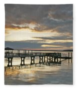 Dock Reflections Fleece Blanket
