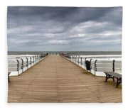 Dock With Benches, Saltburn, England Fleece Blanket