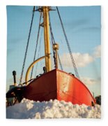 Docked At The Snowfront Fleece Blanket