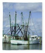 Docked In Port Orange Fleece Blanket