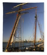 Docked Tall Ship Fleece Blanket