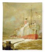 Docking A Cargo Ship Fleece Blanket