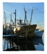 Docks At Darien  Fleece Blanket