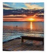 Dockside Sunset By H H Photography Of Florida Fleece Blanket