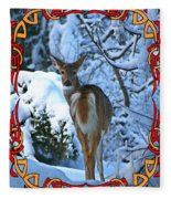 Doe In The Snow Fleece Blanket