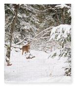 Doe In Winter Snow  Fleece Blanket