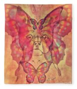 Dog And Butterfly Fleece Blanket