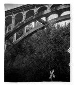 Dog Creek Bridge Railroad  Crossing Fleece Blanket