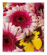 Dog Face Butterfly On Pink Mums Fleece Blanket