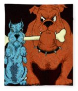 Dog Fight Stand Off Fleece Blanket