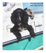 Dog Happy Birthday Card Fleece Blanket