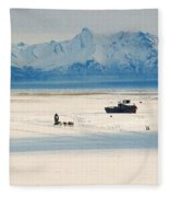 Dog Musher At Cook Inlet - Alaska Fleece Blanket