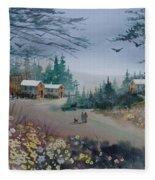 Dog Walking, Watercolor Painting  Fleece Blanket