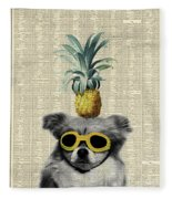 Dog With Goggles And Pineapple Fleece Blanket