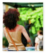 Dog Woman Walk Nyc Paint  Fleece Blanket