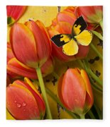 Dogface Butterfly And Tulips Fleece Blanket