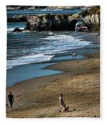 Dogs Beach Santa Cruz California Nature  Fleece Blanket