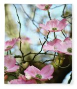Dogwood Flowers Pink Dogwood Tree Landscape 9 Giclee Art Prints Baslee Troutman Fleece Blanket