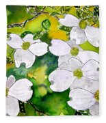 Dogwood Tree Flowers Fleece Blanket