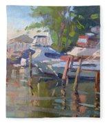 Docks At The Shores  Fleece Blanket