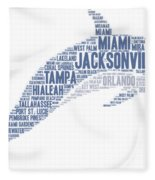 Dolphin Illustrated With Cities Of Florida State Fleece Blanket