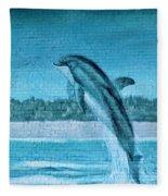 Dolphin Mural Fleece Blanket