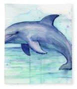 Dolphin Watercolor Fleece Blanket
