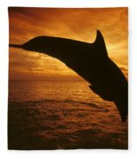 Dolphins And Sunset Fleece Blanket