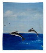 Dolphins Playing Fleece Blanket