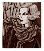 Dominique In Sepia Tone Fleece Blanket