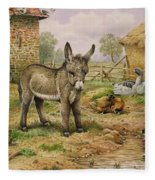 Donkey And Farmyard Fowl  Fleece Blanket