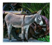 Donkey And Old Tractor Fleece Blanket