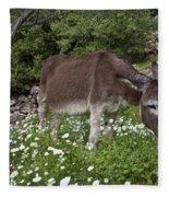 Donkey Grazing In Greece Fleece Blanket