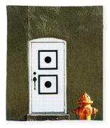 Door And Orange Hydrant  Fleece Blanket
