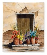 Door With Flower Pots Fleece Blanket